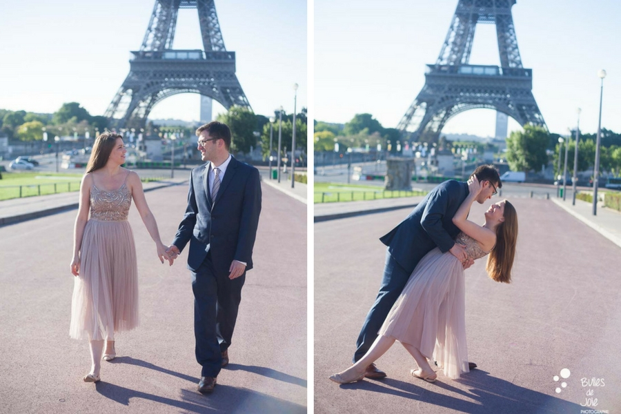 Couple walking in front of the Eiffel Tower. Private photo shoot Paris from Bulles de Joie, professional paris photographer. More photos: