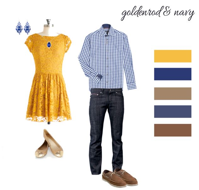Yellow and navy outfits that illustrate the blog post: What to wear for your Couple or Engagement photo shoot in Paris?