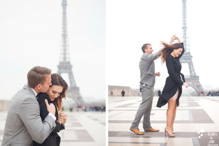 Love session Paris - A couple dancing on the Trocadero, with the Eiffel Tower in the backgroud. More photos at the following link: