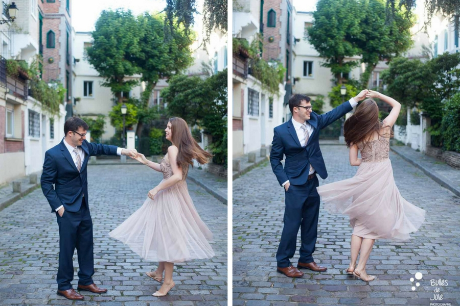 Couple dancing in a parisian street. Private photo shoot Paris captured at Montmartre by Bulles de Joie, professional paris photographer. More photos: