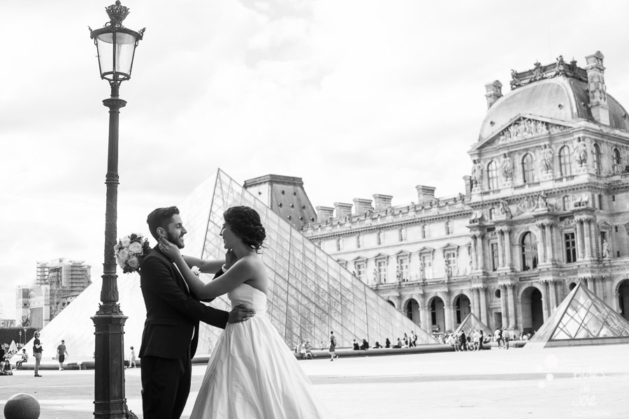 Couple looking at each other for their wedding photoshoot in Paris. More photos: