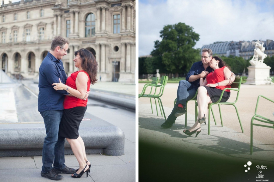 Lovers having a good time during their photoshoot in Paris. More photos: https://www.bullesdejoie.net/en/2017/07/13/paris-love-session-25th-anniversary/