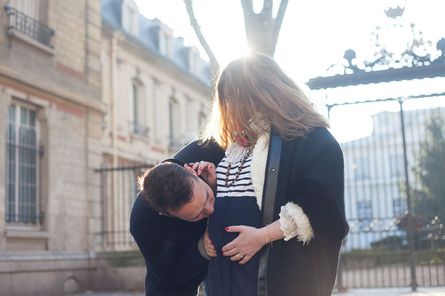 Paris babymoon photographer - couple waiting for their first child, 8-months pregnancy.