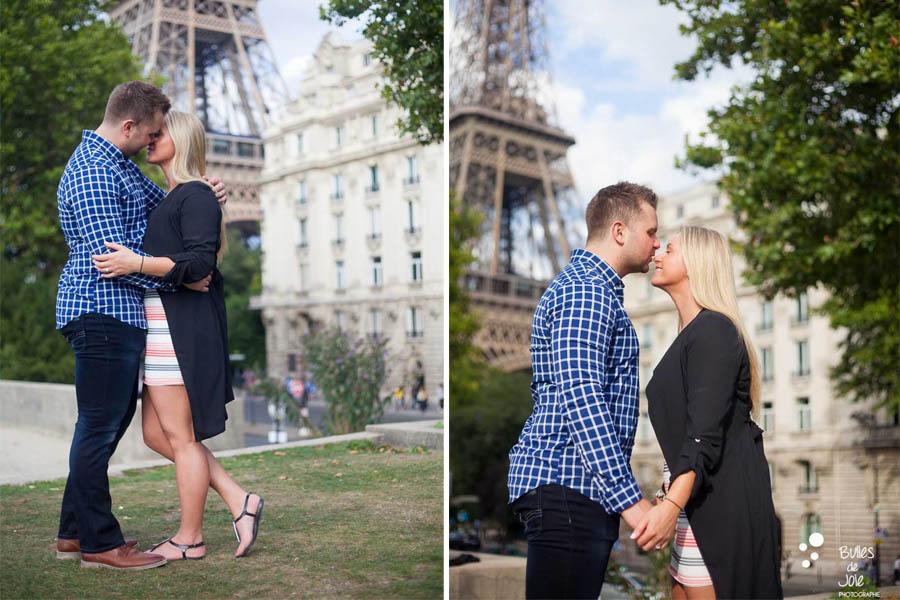 Proposal Eiffel Tower followed by an engagement photoshoot with Bulles de Joie, paris photographer