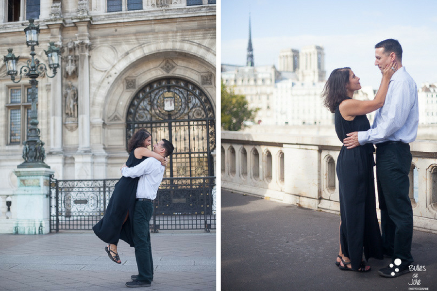 Happy couple in parisian streets: in front of the City Hall and Notre-Dame. More photos:
