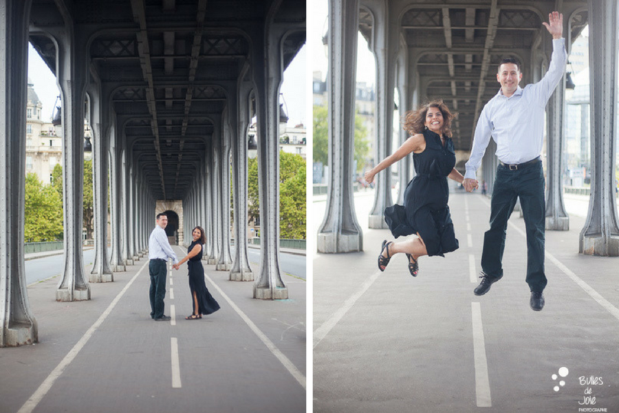 Couple jumping into the air on a photo session. Wedding anniversary gift for her in Paris. More photos: