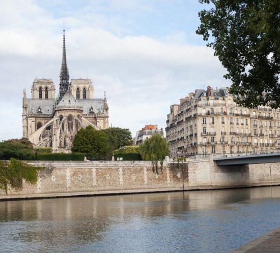 Les Berges de Seine, avec vue sur Notre-Dame. Photo illustrant l'article qui propose 5 lieux idéaux pour une séance photos à Paris