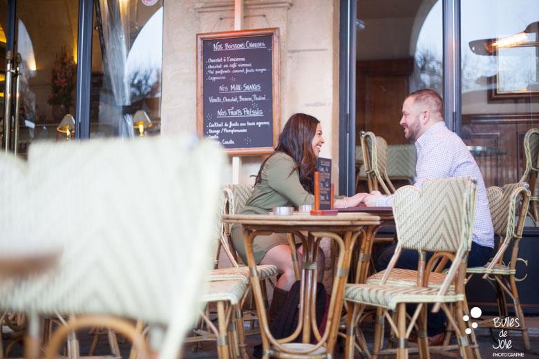 Parisian cafe after the proposal captured at the Eiffel Tower | By Bulles de Joie, Paris Engagement photographer, France