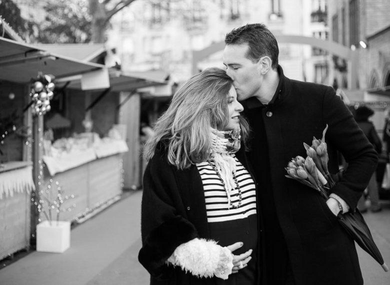 Séance photos grossesse en hiver à Paris