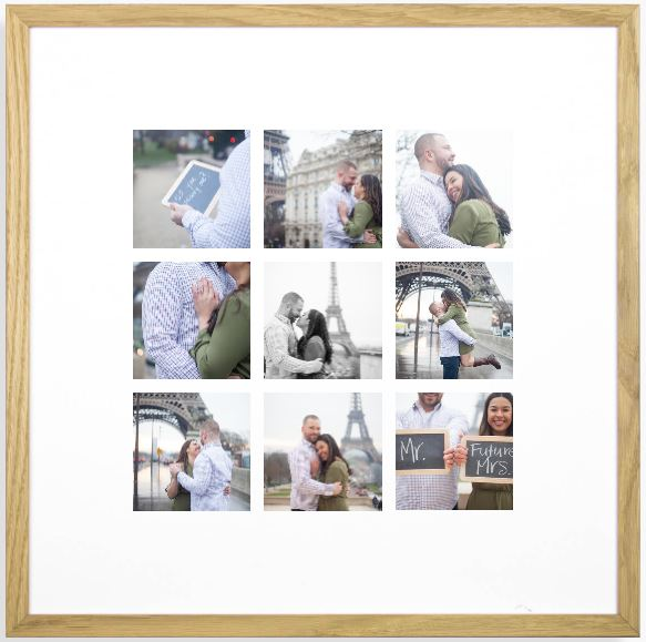 What to do with digital photos after an engagement, couple photo session in Paris? Wall art created by Bulles de Joie, Paris engagement photographer