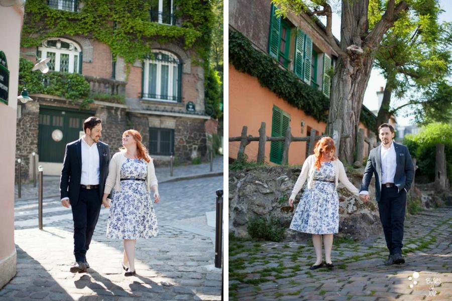 Engagement photo session in Montmartre, Paris | by the Paris engagement photographer: Bulles de Joie
