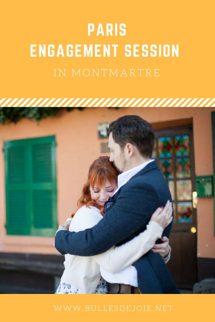 Picture ideas for an engagement session in Montmartre. By Paris engagement & honeymoon photographer: Bulles de Joie