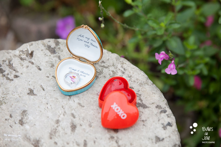Proposal & engagement photo session in Giverny, ring box
