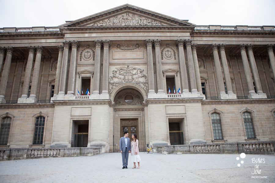 Paris engagement photo session at Trocadero and the Louvre - by Bulles de Joie, Paris engagement photographer