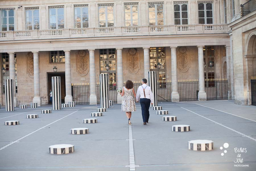 Love photo session in Paris after a vow renewal ceremony in Palais Royal Gardens