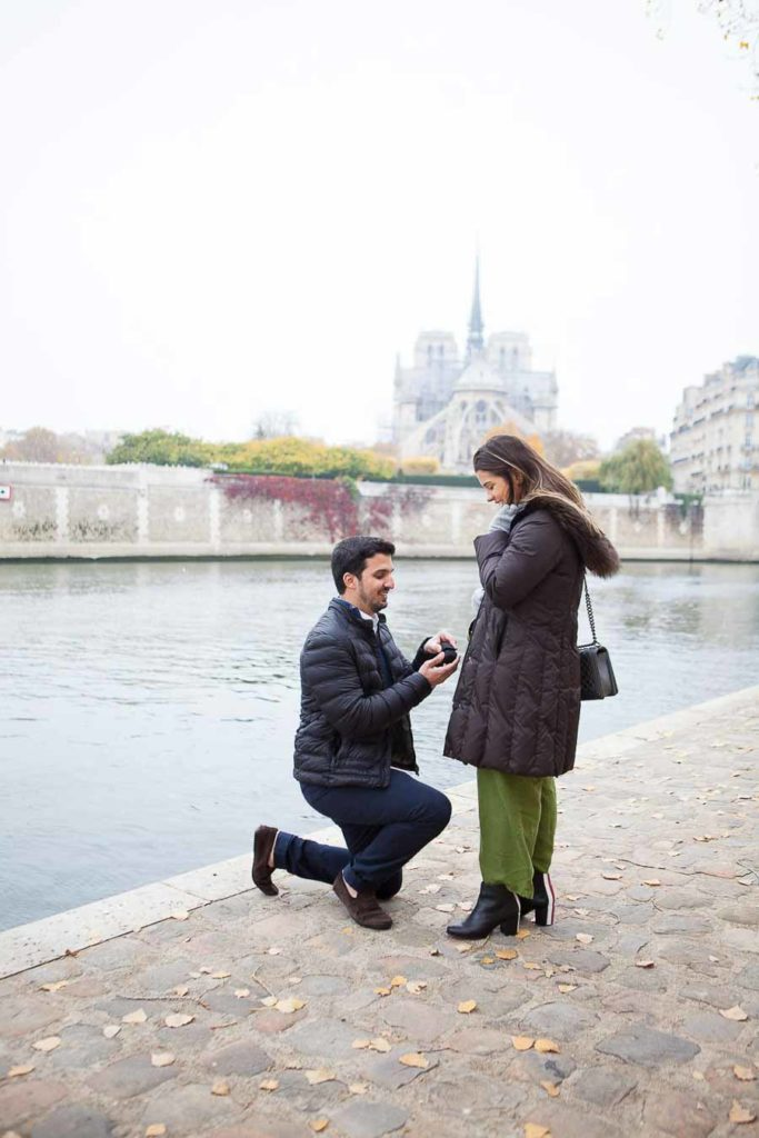 Paris Proposal and engagement photo session at Notre-Dame Cathedral