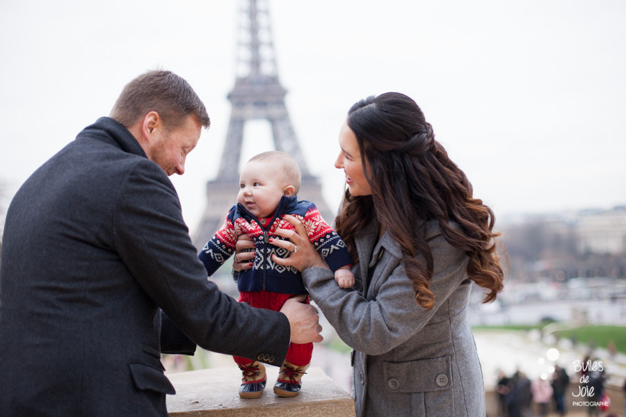 First family photoshoot in Paris with a 3-month year old baby boy, family session at Eiffel Tower, Paris