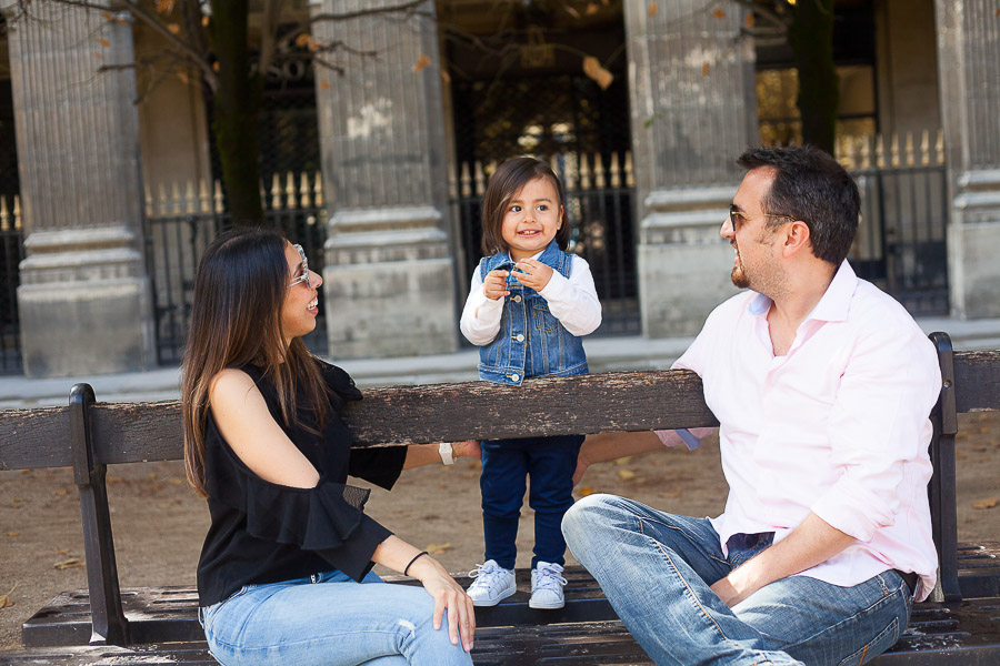 Candid family shot at Palais Royal Gardens in Paris
