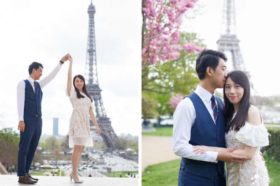 Spring pre-wedding photoshoot Paris