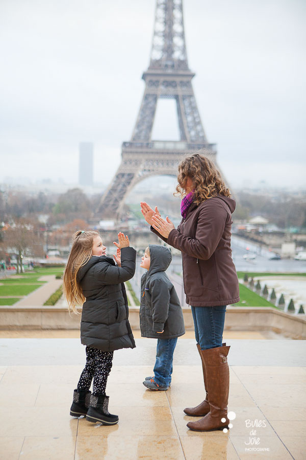 Candid family pictures Eiffel Tower, Paris.