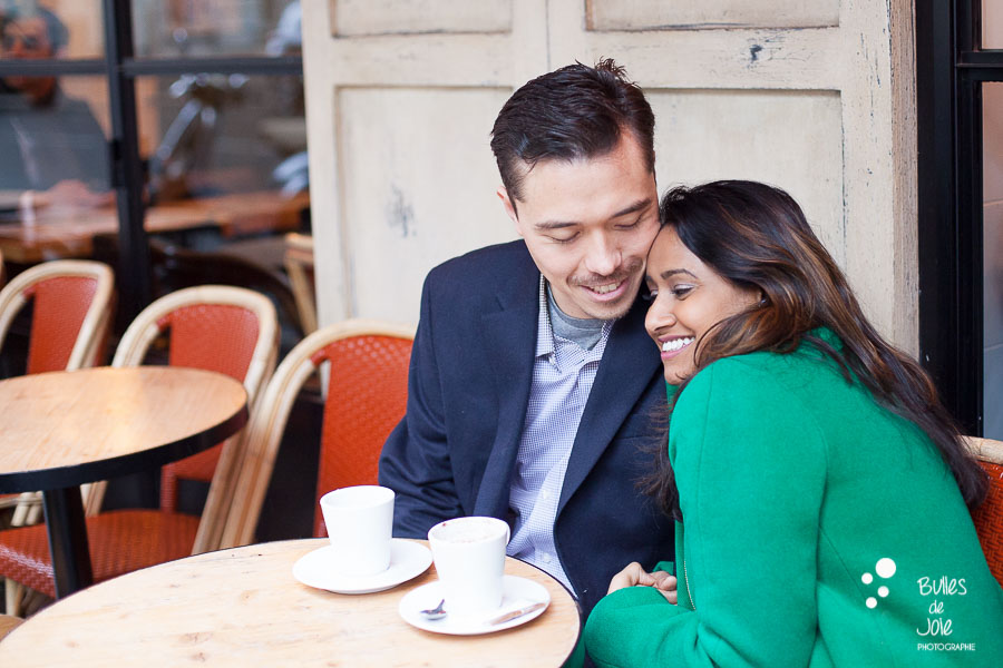 Paris couple photoshoot - parisian cafe