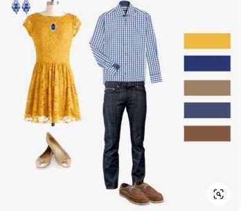 S'habiller pour un shooting photo en extérieur - Tenues jaune et bleu
