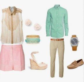 S'habiller pour une séance photo en extérieur - Tenues beige / rose / vert