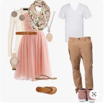 S'habiller pour un shooting photo en extérieur - Tenues avec du beige / marron / rose