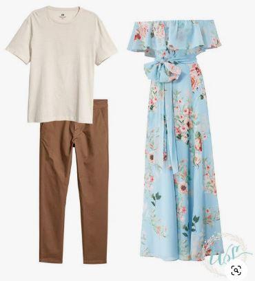 S'habiller pour un shooting photo en extérieur - Tenues avec une robe fleurie bleue