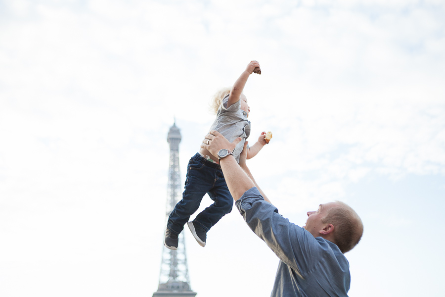 Dad and his boy at the Eiffel Tower